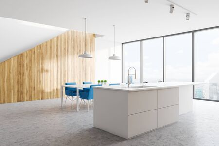 Corner of panoramic kitchen with white walls, island with built in sink, white dining table with blue chairs and staircase to the second floor. 3d rendering
