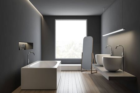 Interior of stylish bathroom with gray walls, wooden floor, comfortable angular bathtub and massive double sink standing on stone shelf. 3d rendering 写真素材