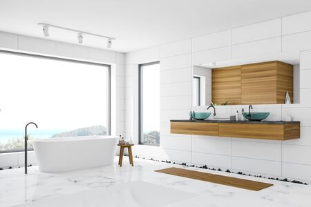 Corner of luxury bathroom with white and wooden walls, marble floor, white bathtub standing near panoramic window with scenery and glass double sink. 3d rendering 写真素材