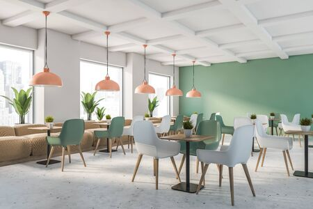 Corner of family restaurant with green and white walls, stone floor, beige sofas and green and white chairs near square wooden tables. 3d rendering