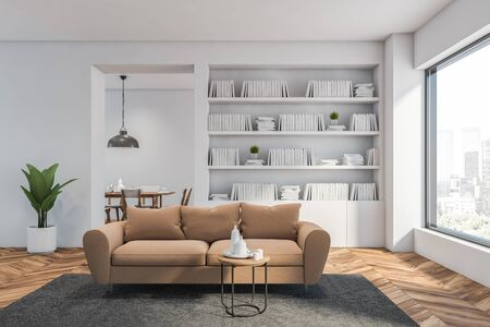 Interior of white living room or home library with wooden floor, white bookcase and beige couch for comfortable reading. Dining room in background. 3d rendering