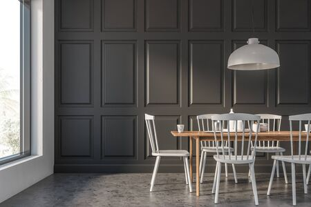 Interior of minimalistic and trendy dining room with gray and white walls, concrete floor, wooden table with white chairs and stylish ceiling lamp. 3d rendering
