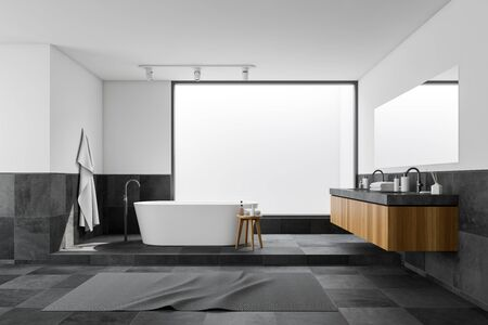 Interior of panoramic bathroom with white and tiled walls, tiled floor, comfortable bathtub and double sink on wooden counter with large mirror. 3d rendering