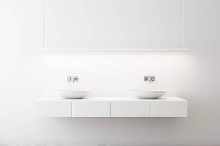 Close up of double sink standing on white countertop in modern bathroom with white walls and stylish ceiling lamp. 3d rendering