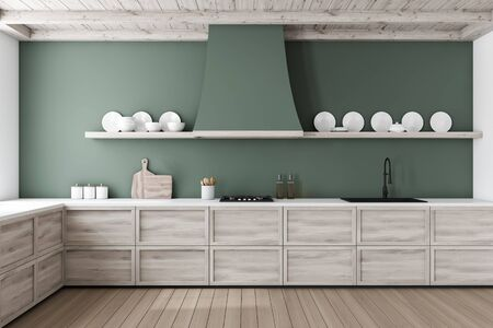 Interior of stylish kitchen with green and white walls, wooden floor, wooden countertops built in sink and cooker. Shelves with plates. 3d rendering