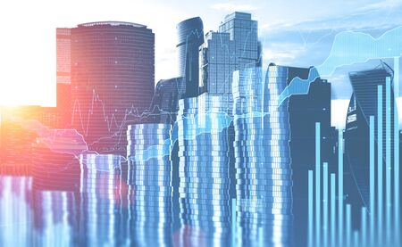 Moscow city background with double exposure of coin stacks and digital graphs. Concept of trading and financial market. 3d rendering toned image