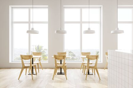 Interior of modern loft cafe with white walls, wooden floor, wooden tables with chairs and stylish ceiling lamps. 3d rendering Stockfoto
