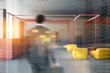 Businessman entering modern open space office with gray walls, work area and reception table with lounge. Toned image double exposure blurred