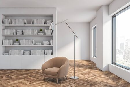 Interior of white living room or home library with wooden floor, white bookcase and beige armchair for comfortable reading. Concept of education. 3d rendering Imagens