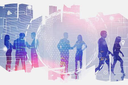 Silhouettes of business people communicating in modern city with double exposure of planet hologram and network interface. Concept of hi tech and international business. Toned image Zdjęcie Seryjne