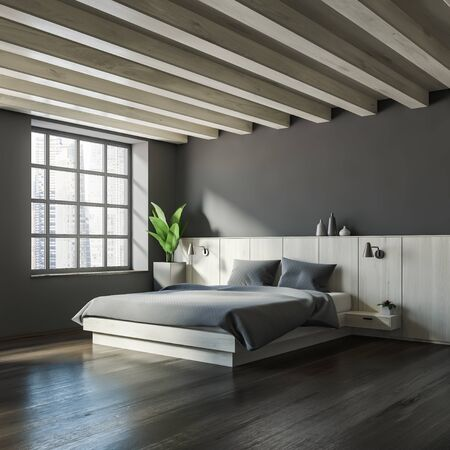 Corner of master bedroom with gray walls, dark wooden floor, big bed with two bedside tables and wooden ceiling. 3d rendering