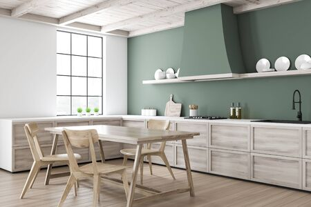 Corner of stylish kitchen with white and green walls, wooden floor, wooden countertops and dining table with comfortable chairs. Shelves with plates. 3d rendering Stock fotó