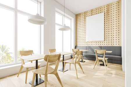 Corner of loft cafe with white and wooden walls, wooden floor, comfortable gray sofa, wooden tables with chairs and vertical mock up poster. 3d rendering