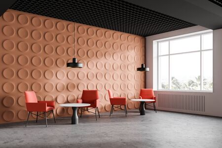 Orange modern office waiting room corner with geometric pattern walls, concrete floor, bright orange armchairs and white round coffee tables. 3d rendering