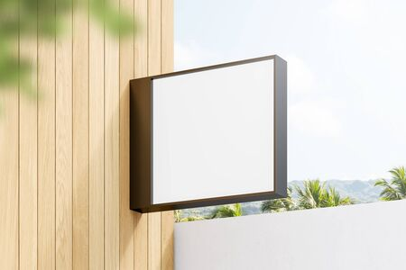 Empty square mock up sign for advertising hanging on wooden wall over tropical scenery background. 3d rendering