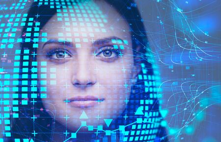 Beautiful caucasian woman with black hair looking forward with double exposure of planet hologram and network interface. Concept of internet and artificial intelligence. Toned image Stock fotó