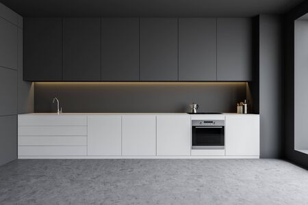 Interior of minimalistic kitchen with gray walls, concrete floor, white countertops with built in oven and sink and gray cupboards. 3d rendering