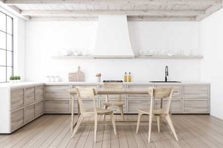Interior of stylish kitchen with white walls, wooden floor, wooden countertops and dining table with comfortable chairs. Shelves with plates. 3d rendering Stockfoto