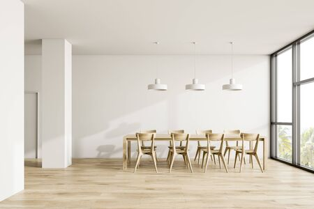 Interior of modern dining room with white walls, wooden floor, panoramic window and long wooden table with industrial style lamps. 3d rendering