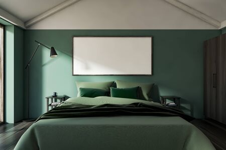 Interior of stylish attic bedroom with green walls, dark wooden floor, double bed with two bedside tables and floor lamp. Horizontal mock up poster frame. 3d rendering