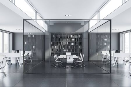 Interior of modern conference room with glass walls, long white table, black bookcase and open space office around it. 3d rendering