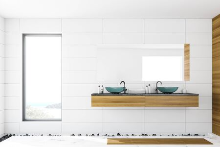 Interior of loft bathroom with white tile and wooden walls, marble floor and glass double sink standing on wooden shelf with large mirror. 3d rendering