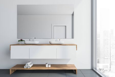 Interior of panoramic bathroom with white walls, gray tiled floor, double sink standing on white countertop and large mirror above it. 3d rendering