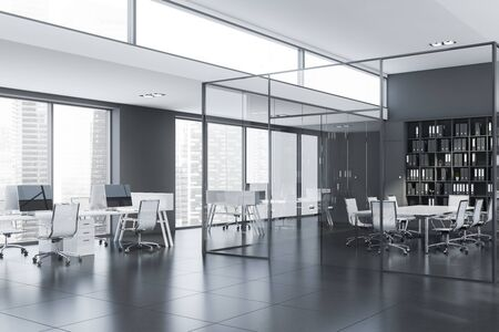 Corner of modern conference room with glass walls, long white table, black bookcase and open space office around it. 3d rendering