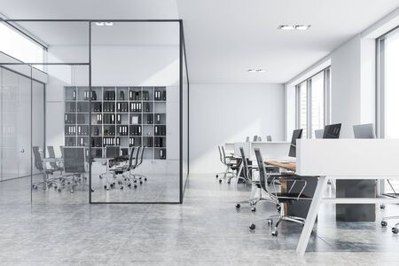 Interior of stylish conference room with glass walls, tiled floor, long glass table with black chairs, white bookcase and open space area in with wooden computer tables near it. 3d rendering