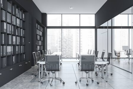 Interior of office meeting room with gray and glass walls, panoramic window with cityscape, glass table with black chairs and bookcase with folders. 3d rendering Stock Photo
