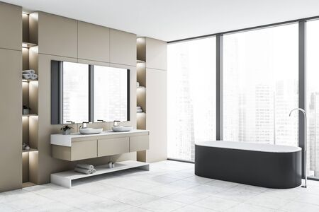 Corner of loft bathroom with beige walls, white tiled floor, comfortable gray bathtub and double sink with large mirror. Panoramic windows and shelves with towels. 3d rendering