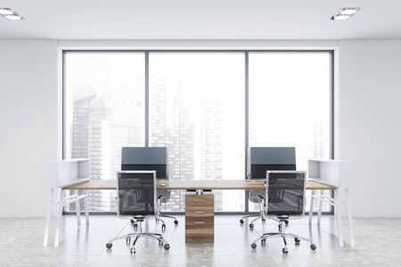 Interior of white panoramic office workplace with tiled floor, window with cityscape and wooden computer table with metal chairs. 3d rendering
