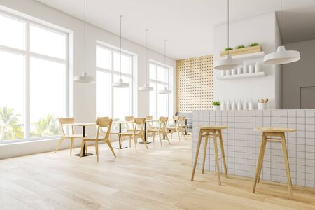 Corner of modern pub with white and wooden walls, wooden floor, gray sofa, tables and chairs and white bar counter with stools. 3d rendering 写真素材