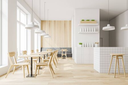 Interior of stylish pub with white and wooden walls, wooden floor, gray sofa, tables and chairs and white bar counter with stools. 3d rendering 写真素材