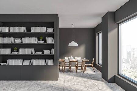 Interior of modern living room with gray walls, white wooden floor, grey bookcase and dining table with chairs in background. 3d rendering