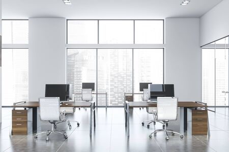 Interior of spacious open space office with white walls, tiled floor and rows of dark wooden computer desks. Window with cityscape. 3d rendering Stock Photo