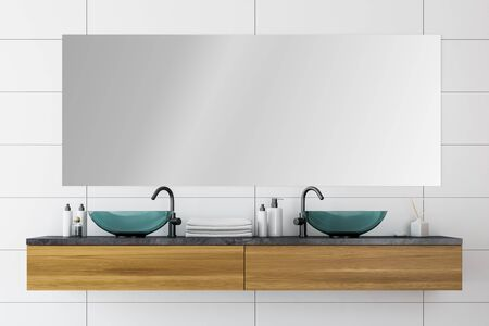 Glass double sink standing on wooden countertop in modern bathroom interior with white tile walls and large mirror. 3d rendering