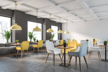 Corner of family restaurant with gray and white walls, stone floor, gray sofas and yellow and white chairs near square wooden tables. 3d rendering