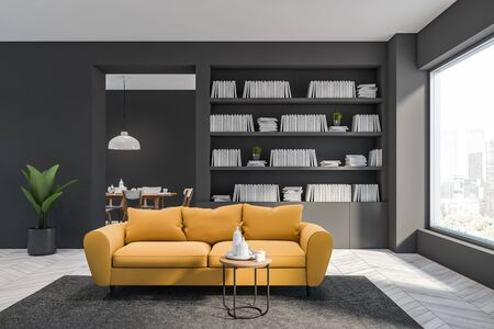 Interior of grey living room or home library with white wooden floor, grey bookcase and yellow couch for comfortable reading. Dining room in background. 3d rendering
