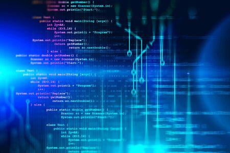 Linee luminose di interfaccia di codice e circuito su sfondo blu brillante con numeri binari. Concetto di programmazione. 3D rendering immagine tonica doppia esposizione
