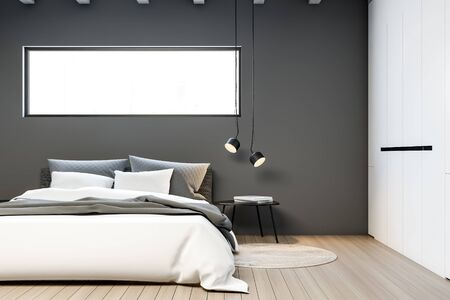 Interior of stylish bedroom with gray walls, wooden floor, king size bed with narrow window above it and comfortable white wardrobe. 3d rendering Stock Photo