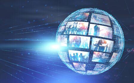 Sfondo futuristico dell'interfaccia internet con l'ologramma del pianeta. Concetto di alta tecnologia e social media. Doppia esposizione dell'immagine modificata. Elementi di questa immagine fornita dalla NASA Archivio Fotografico