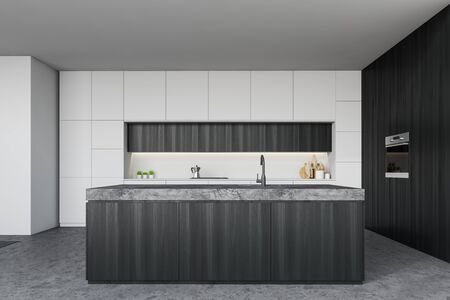 Interior of stylish kitchen with white and dark wooden walls, white countertops, dark wooden island with built in sink and oven. 3d rendering