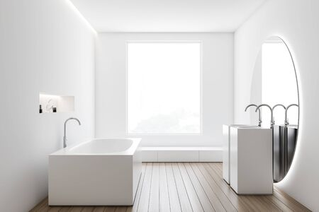 Interior of stylish bathroom with white walls, wooden floor, comfortable angular bathtub and double sink with large round mirror. 3d rendering