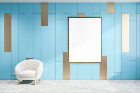 Interior of minimalistic living room with blue walls, concrete floor, comfortable white armchair and vertical mock up poster frame. 3d rendering 写真素材