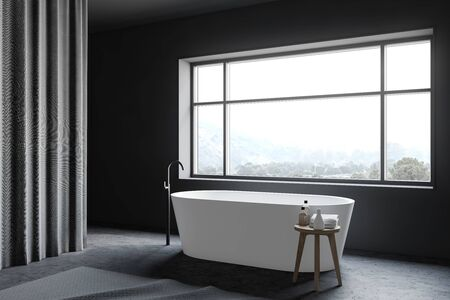 Corner of minimalistic bathroom with grey walls, concrete floor, large window with mountain view and comfortable white bathtub. Gray curtains. 3d rendering