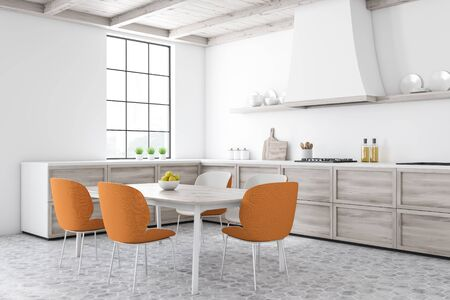 Corner of stylish kitchen with white walls, tiled floor, wooden countertops and dining table with orange chairs. Shelves with plates. 3d rendering 写真素材