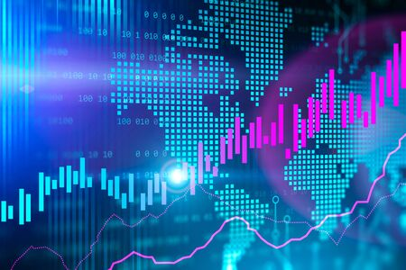 Purple forex graph over digital world map background. Concept of stock market and trading. 3d rendering toned image double exposure