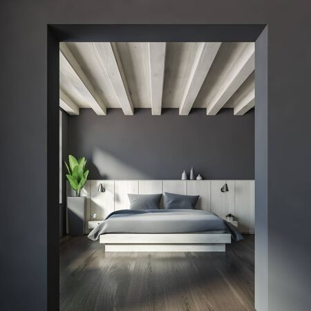 Interior of master bedroom with gray walls, dark wooden floor, big bed with two bedside tables and large archway. 3d rendering