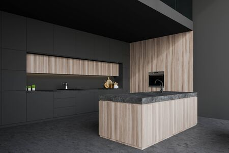 Corner of stylish kitchen with grey and wooden walls, concrete floor, gray countertops, wooden island with built in sink and oven. 3d rendering 写真素材